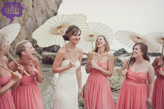 Bridesmaids can carry parasols down the aisle instead of flowers. Great idea for a beach wedding! See more ideas... http://emmalinebride.com/themes/wedding-ideas/