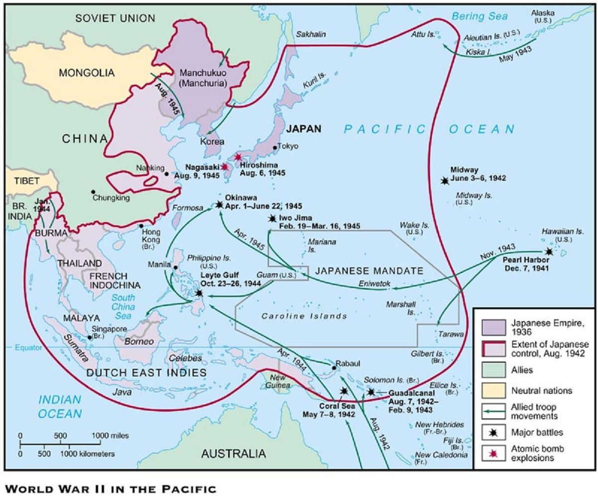 World War II Pacific - Japanese extended control in the Pacific ...