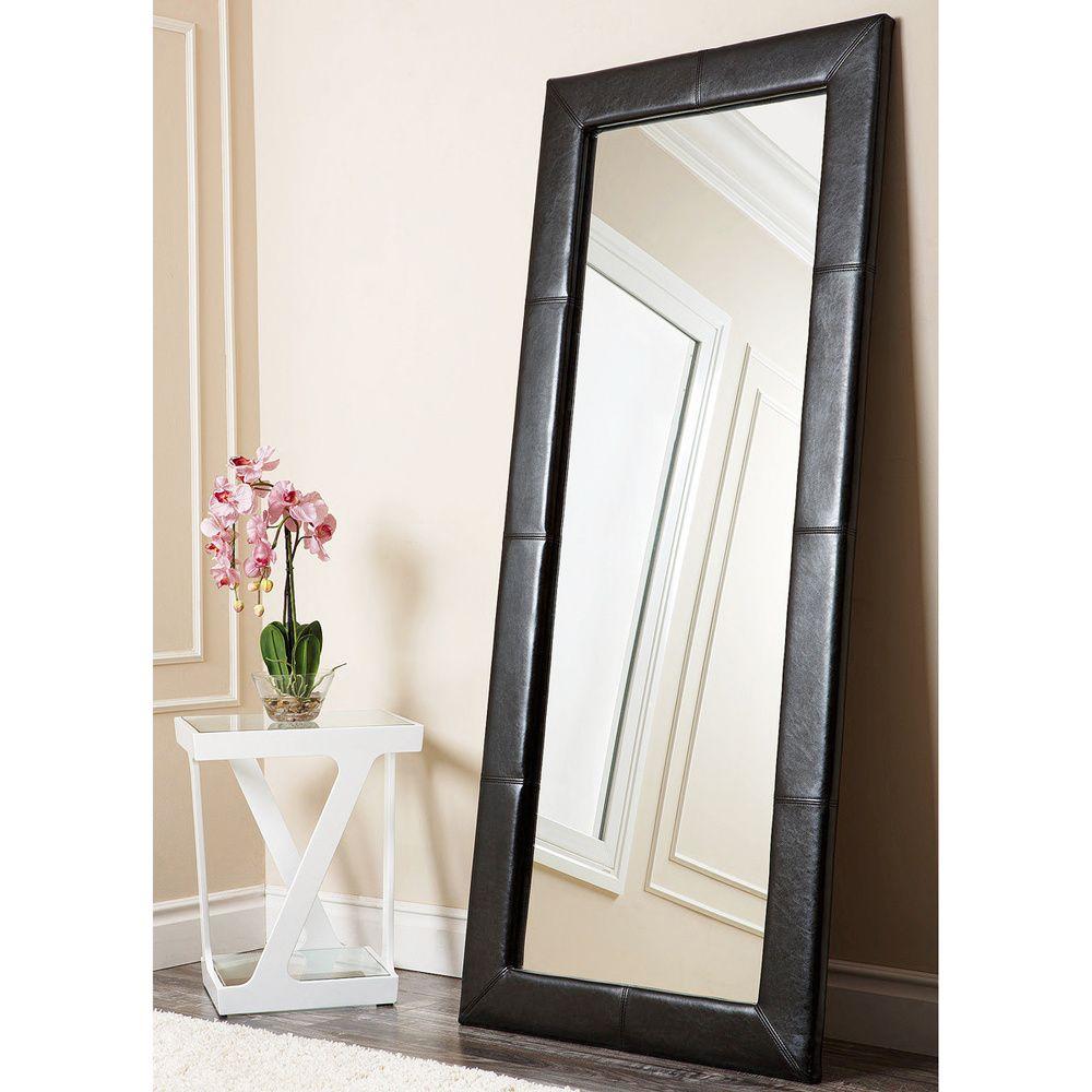 Abbyson Living Delano Black Leather Floor Mirror - Overstock ...