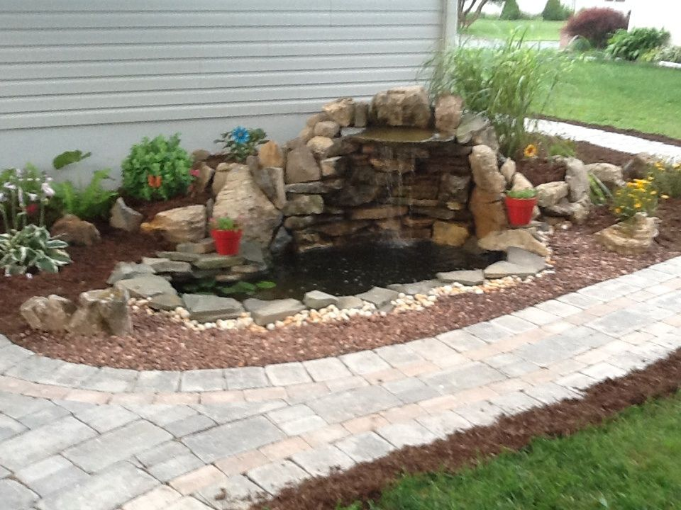 Small pond and waterfall water features pinterest for Fish pond fountain design