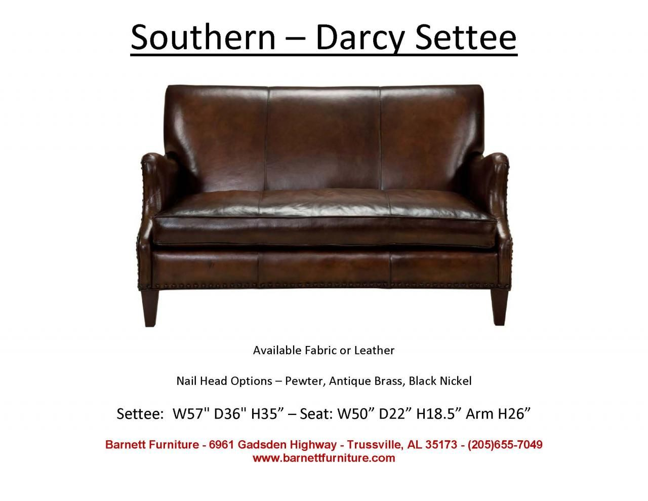 Southern Furniture - Darcy Settee. You Choose Nail Head Trim or No ...