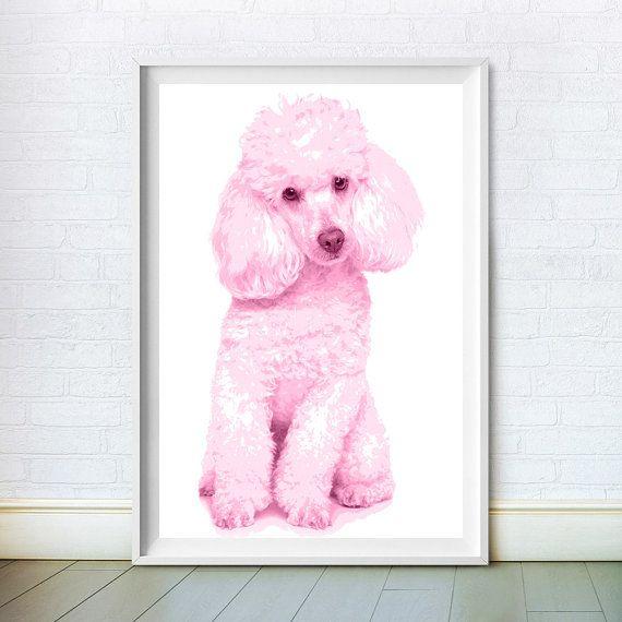 Pink Poodle, Baby Animal Print, Dog Art, Nursery Wall Decor, Baby ...