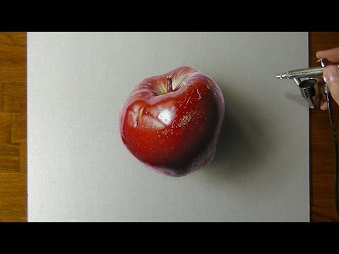 Dibujo en 3D de una manzana  Cmo hacer un dibujo en 3D  YouTube