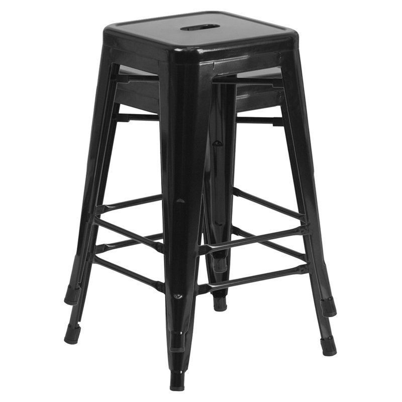 Vogue Furniture Direct 30 In Square Backless Bar Stool Set Of 2