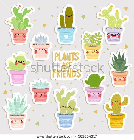 Big set of cute cartoon cactus and succulents with funny faces stickers cute stickers or