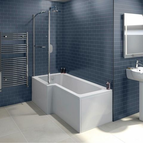 Orchard L Shaped Left Handed Shower Bath With 6mm Shower Screen And Rail Bath Screens Shower Screen
