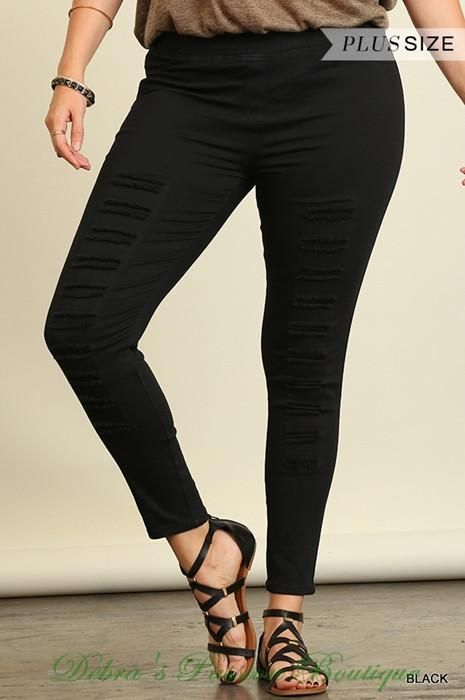 956abd175630b7 Umgee Plus Size Fun Bold Color Distressed Leggings Jeggings - sits below  waist just above hips. Color: Black or Olive Holes can be worn opened or  closed, ...