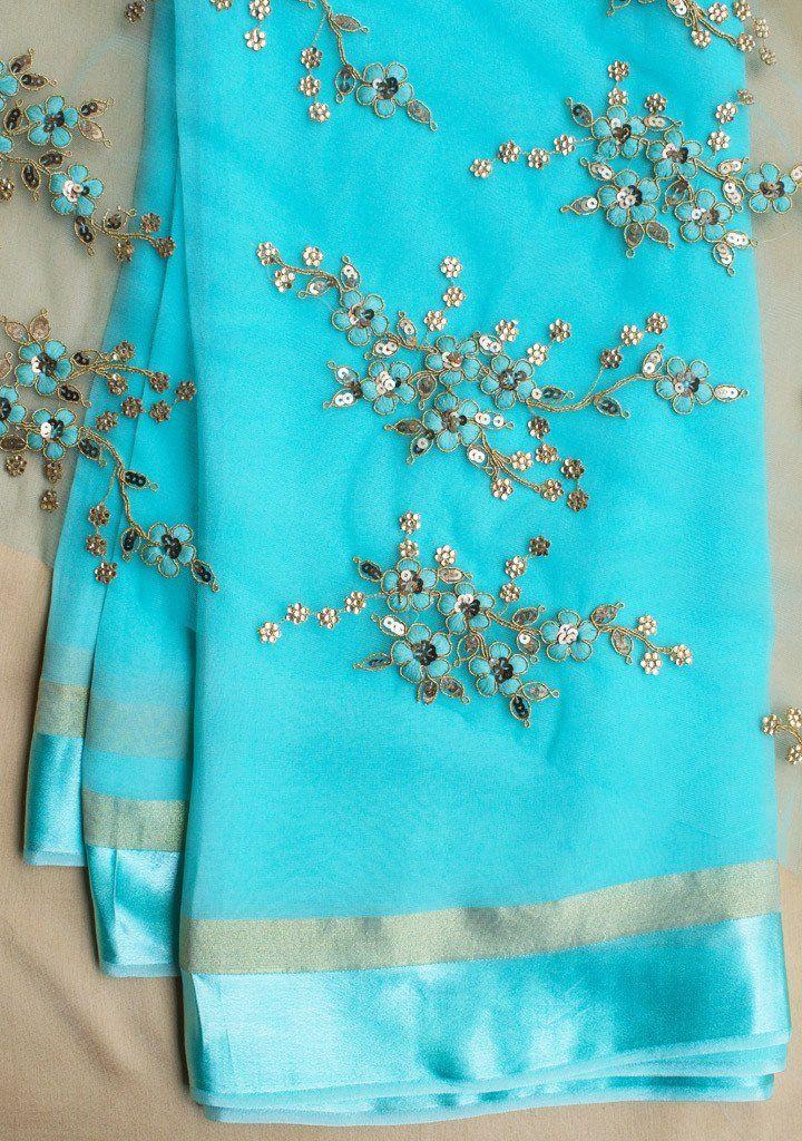 426095775ec0c9 Sky blue saree with net blouse piece   The Sari   Sky blue saree ...