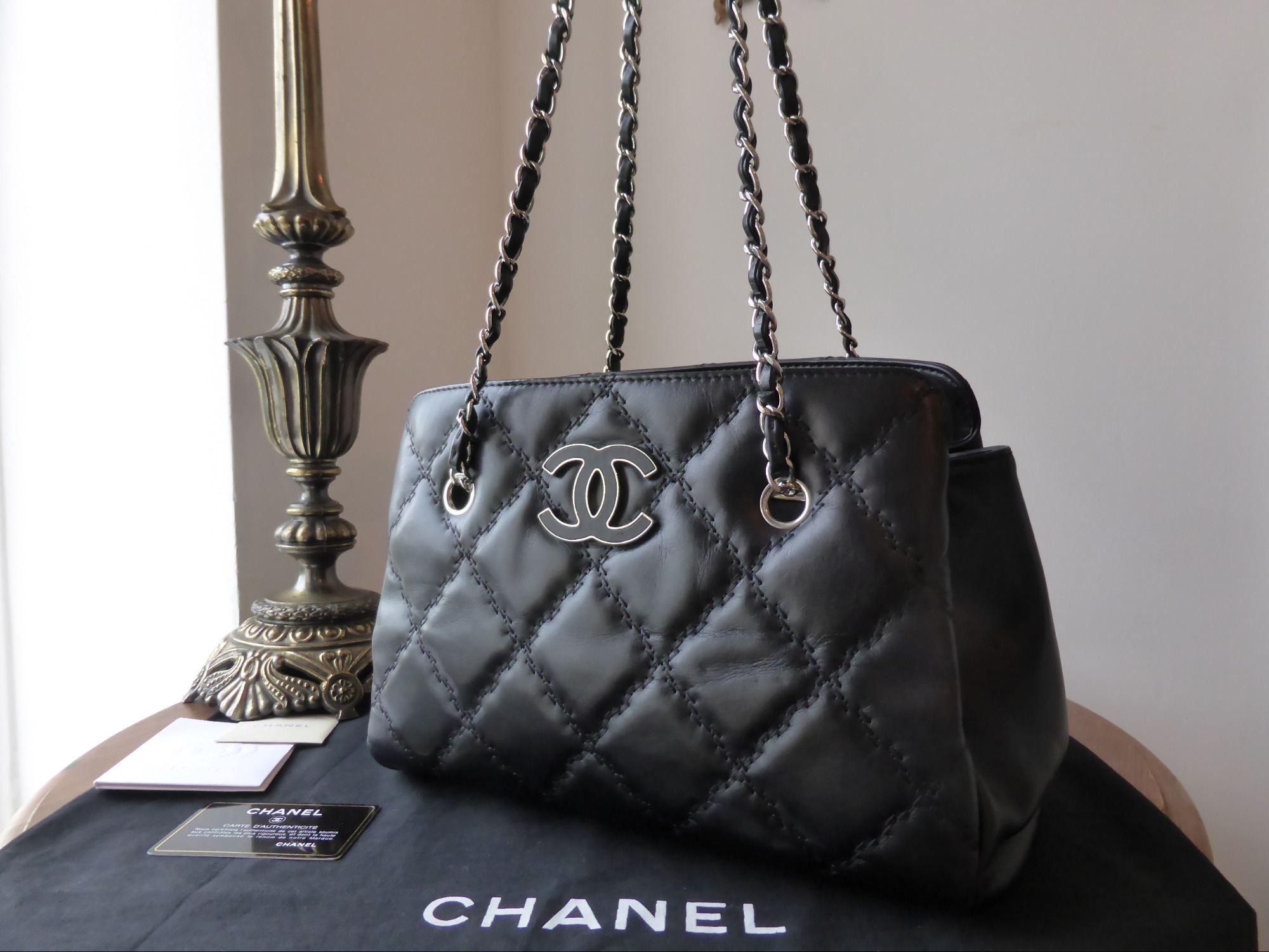 d227651d2494e0 Chanel Shoulder Tote in Black Calfskin - SOLD   Chanel   Chanel ...