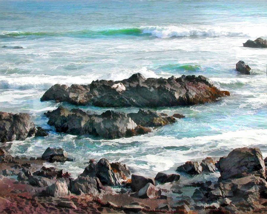 Rocky Ocean Shoreline One By Elaine Plesser Shoreline First Art Ocean