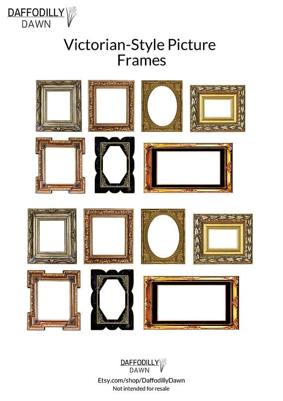7 Vintage Victorian Style Picture Frames 1/12 scale, Miniature ...
