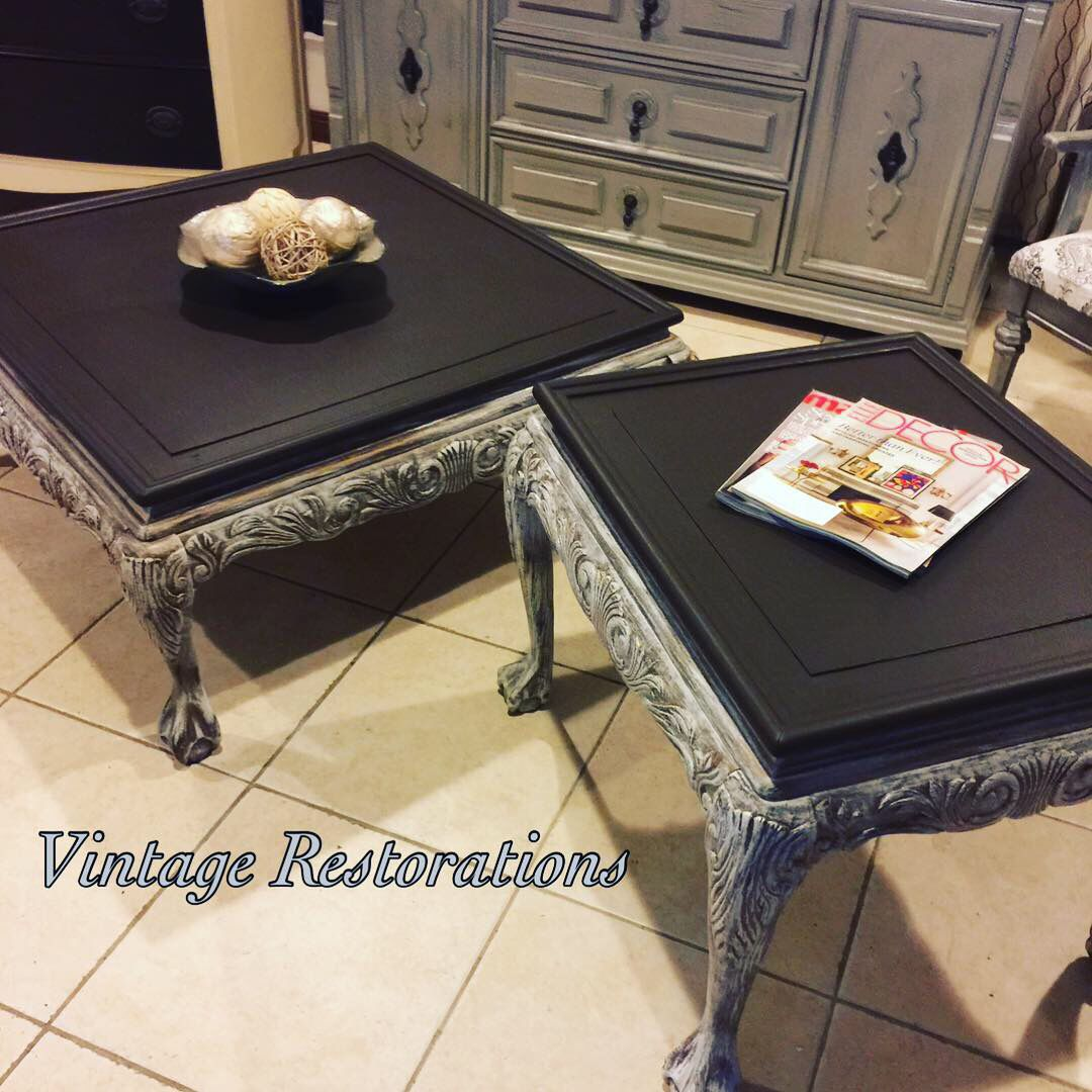 Old Ornate Coffee Table Set Transformed In French Linen Dry