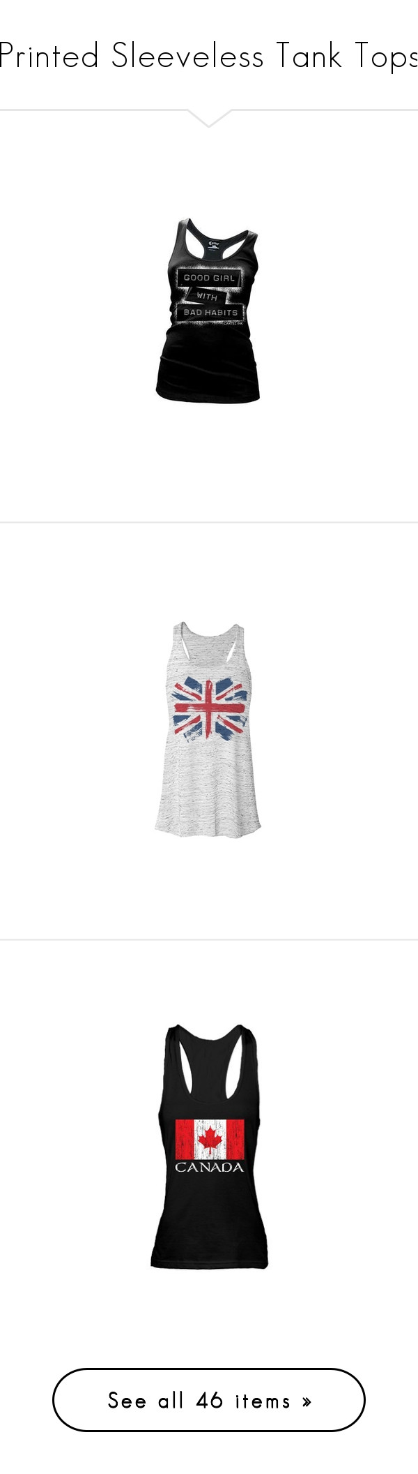 """""""Printed Sleeveless Tank Tops"""" by rosielover ❤ liked on Polyvore featuring tops, racerback top, racerback tank, racer back tops, racer back tank, racerback tank top, shirts, tank tops, tanks and blusas"""