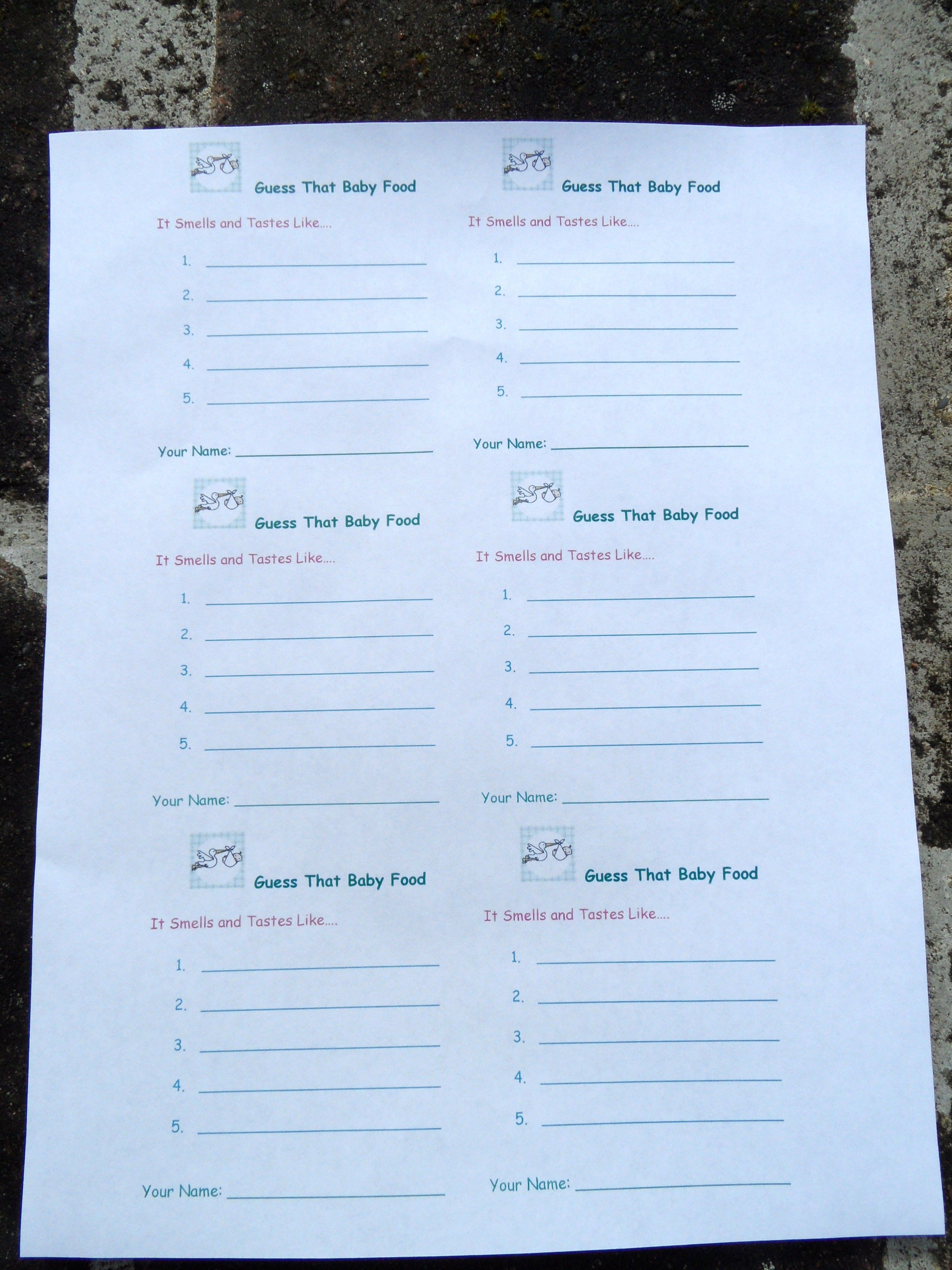 Free Printable Template For Guess The Baby Food Game