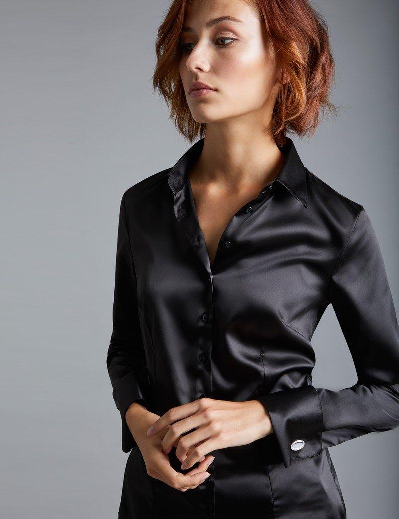 580fdd731b28 Women s Black Fitted Satin Shirt - Double Cuff