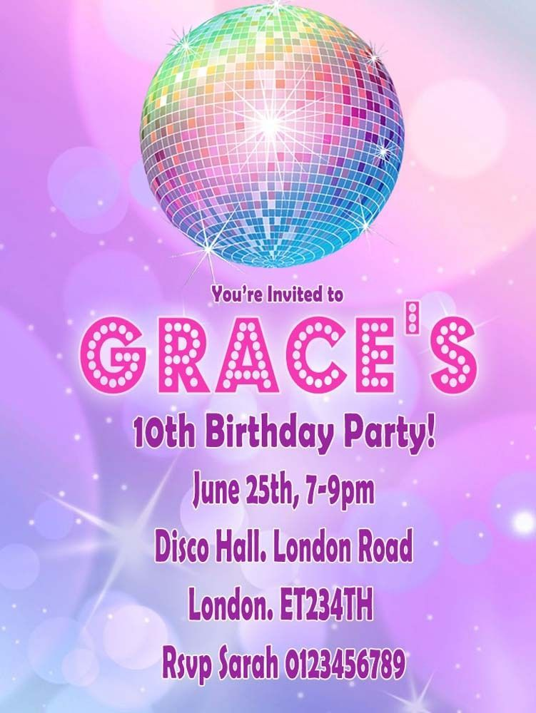 12 x Personalised Disco Birthday Party Invitations With Envelopes ...