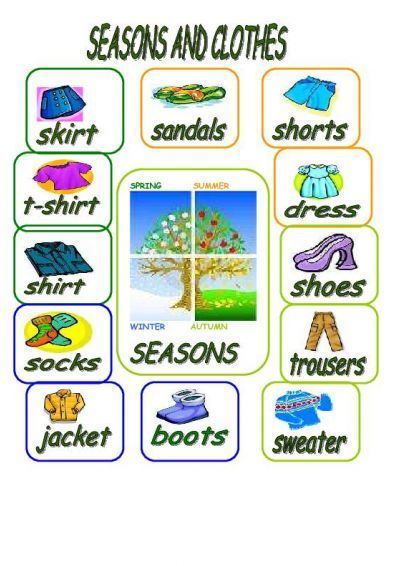 SEASONS AND CLOTHES worksheet - Free ESL printable worksheets made ...
