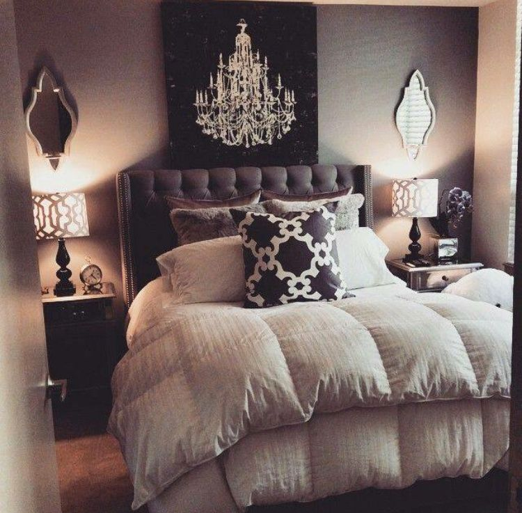 Gray Black Neutral Color Palette For A Guest Bedroom Love The Different Patterns And Textures