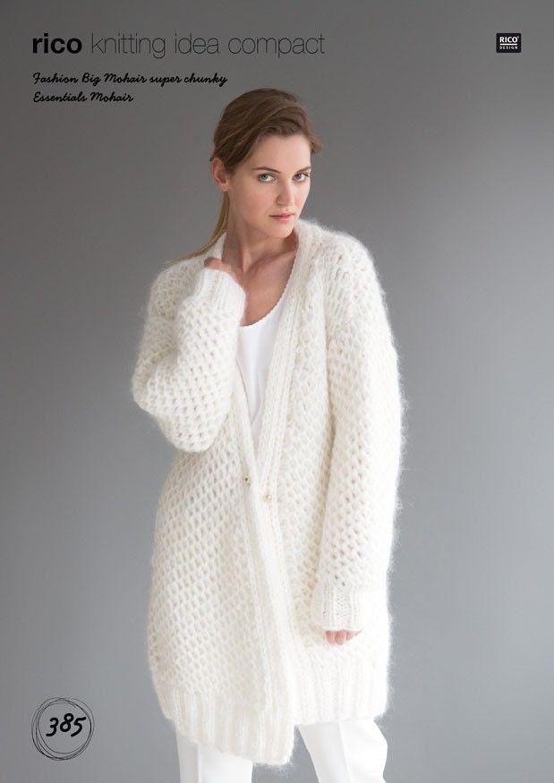 Brioche Cardigan in Rico Design Fashion Big Mohair Super Chunky (385 ...