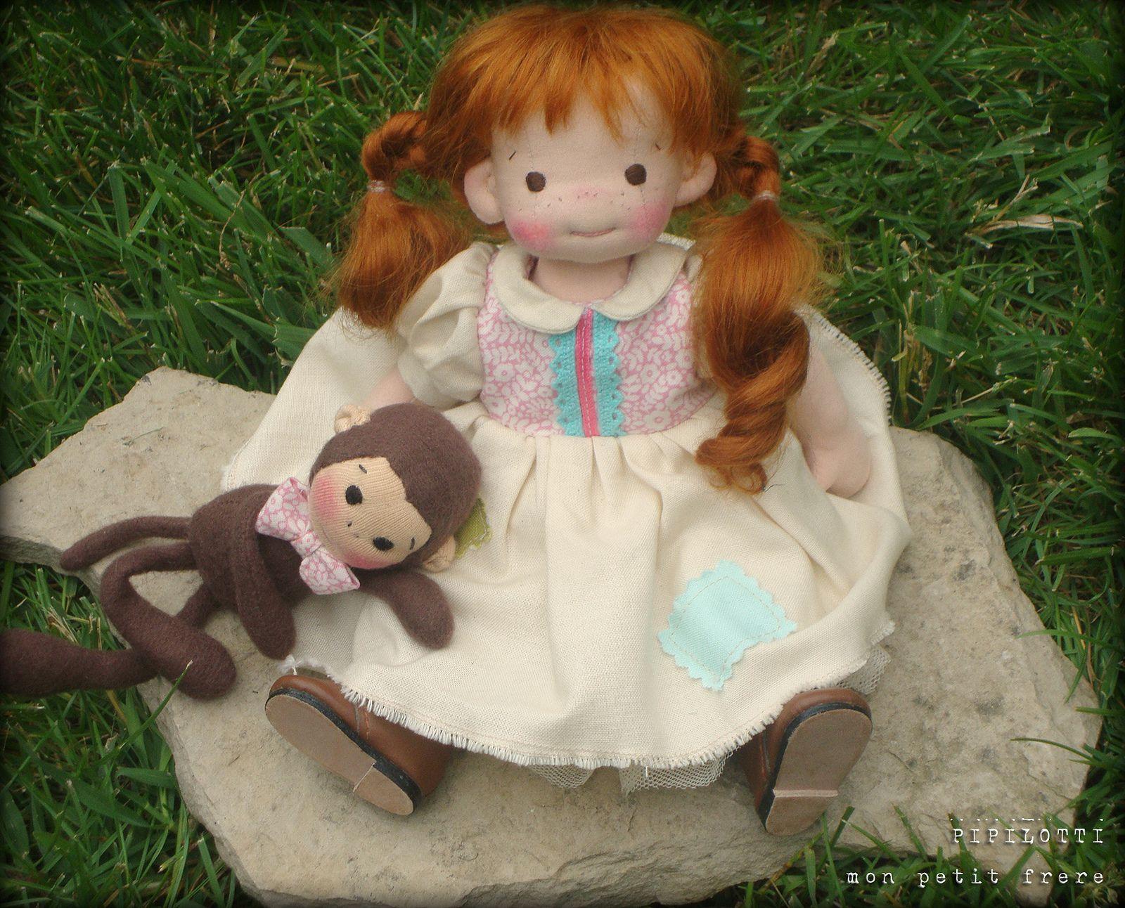 https://flic.kr/p/nvUz1n | Pipilotti- Handmade natural fiber art doll by Mon Petit Frère