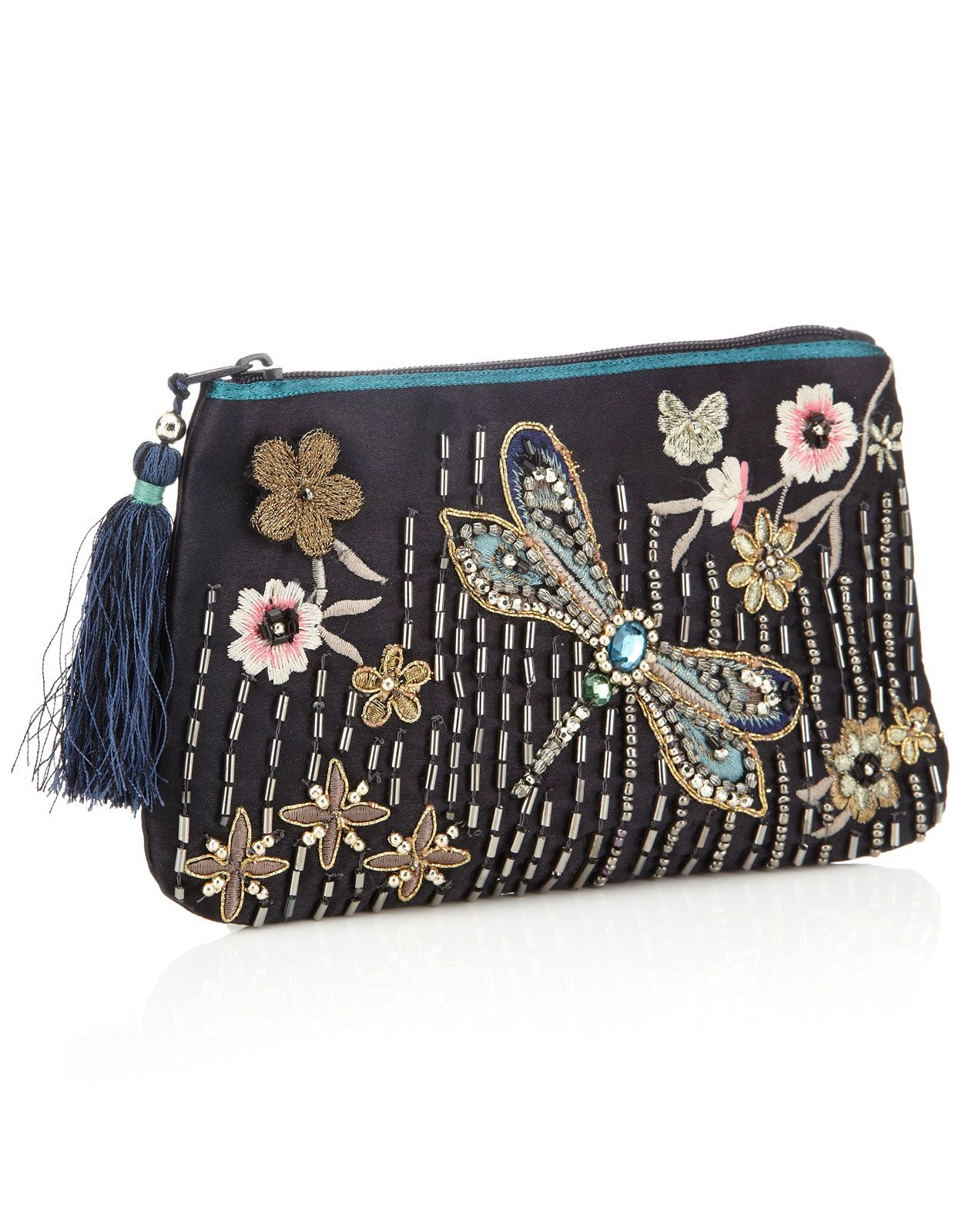Embellished Dragonfly Zip Top Purse | Multi | Accessorize