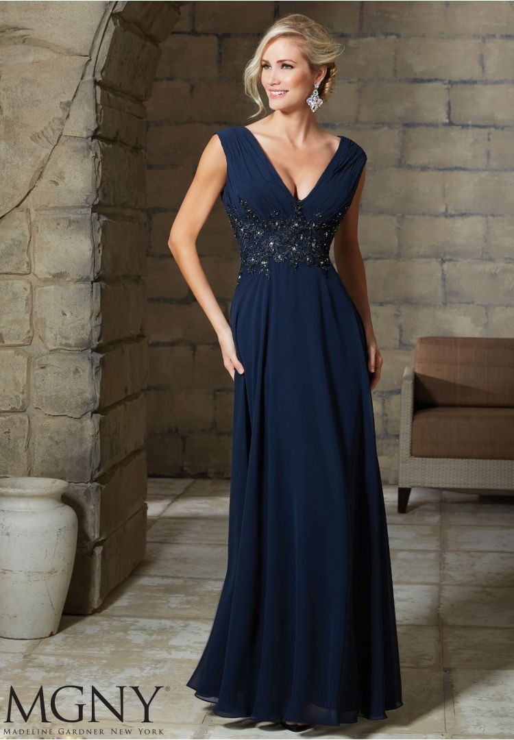 Evening gown chiffon with embroidered and beaded appliques