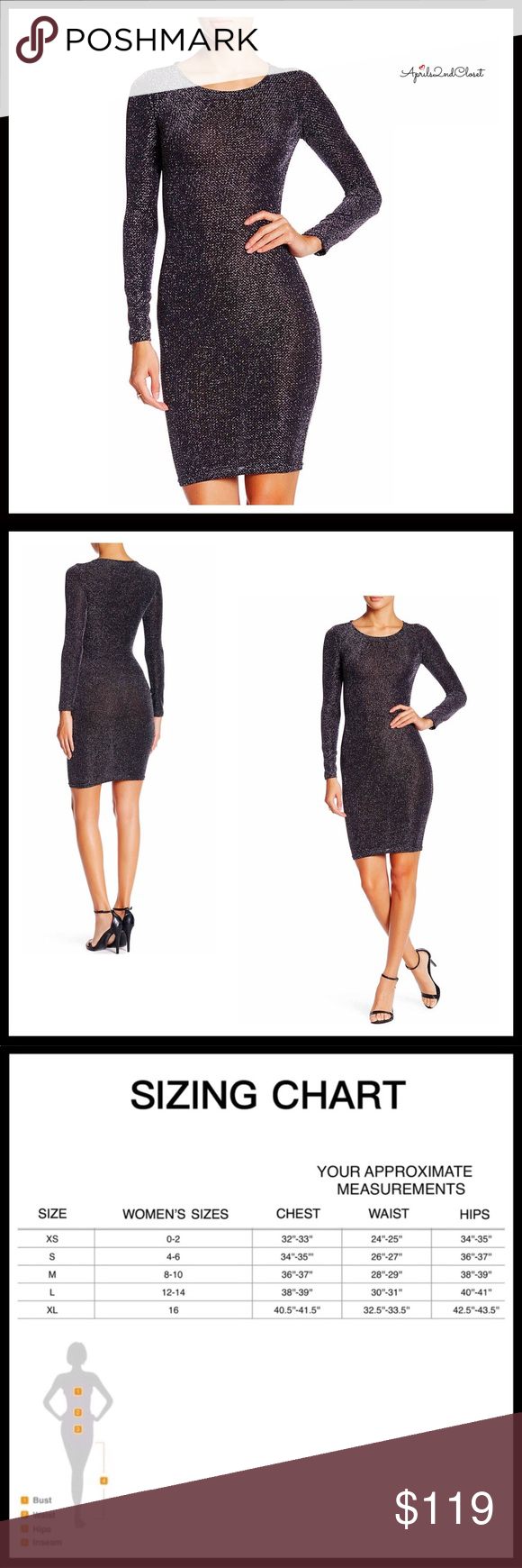 Glitter sparkle long sleeves cocktail dress lbd nwt in my