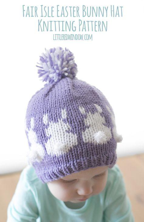 Easter Bunny Hat Fair Isle Knitting Pattern | Pinterest