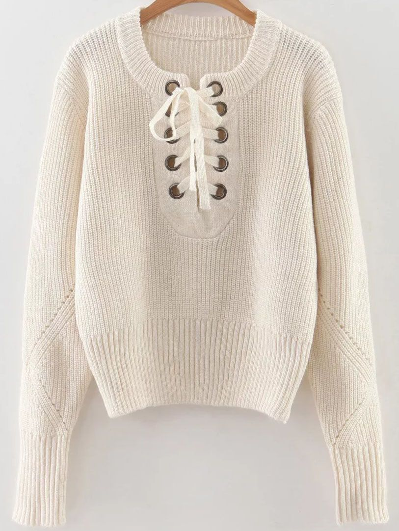 Shop White Eyelet Lace Up Ribbed Trim Sweater online. SheIn offers White Eyelet  Lace Up Ribbed Trim Sweater   more to fit your fashionable needs. c6e8d0a93