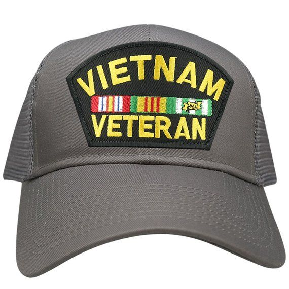 43a8b412e82 Military Vietnam Veteran Large Embroidered Iron on Patch Adjustable Mesh Trucker  Cap (30287-PML181-V