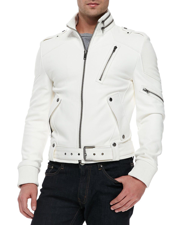 White mens leather jacket , men biker leather jacket