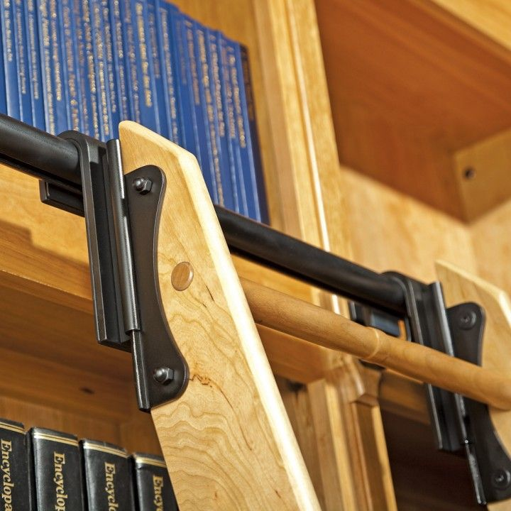 Rockler Classic Rolling Library Ladder Ladder Hardware Satin Black 집 디자인 하드웨어 및 집