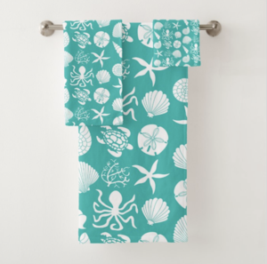 teal & white seashell bathroom towel set | bathroom decor