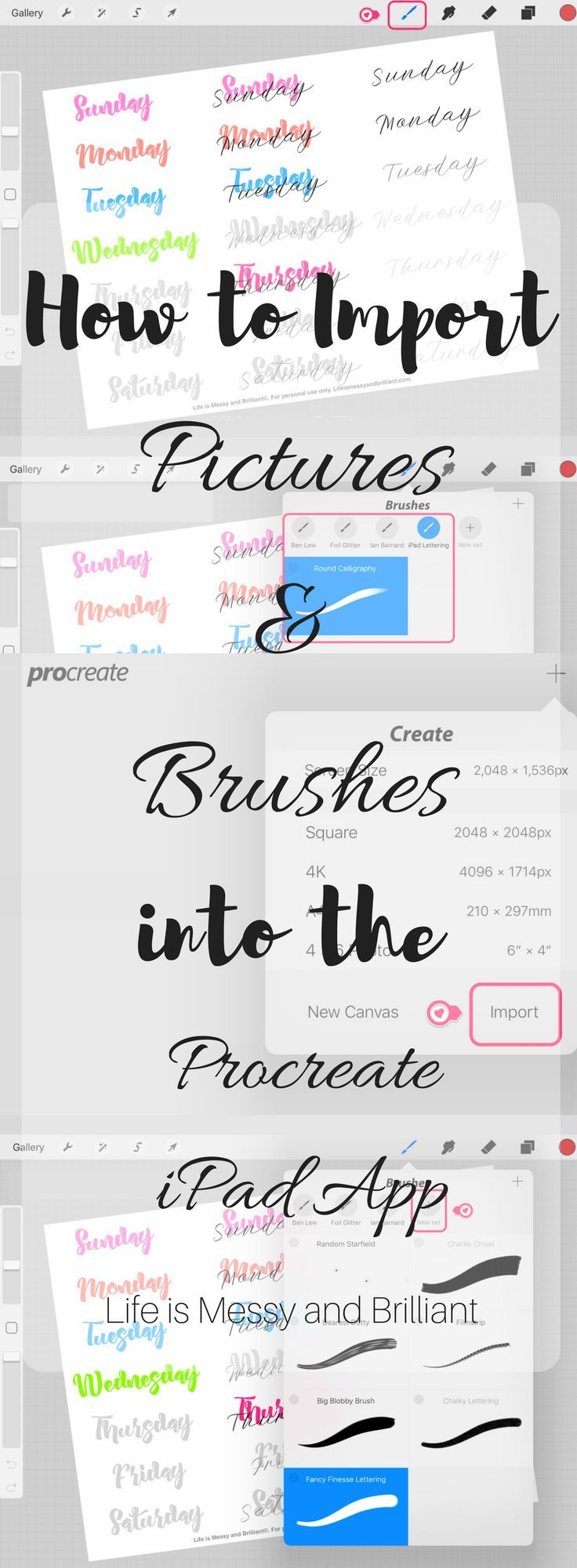 Predownload: How To Import Pictures And Brushes Into The Procreate Ipad App Ipad Lettering Procreate Procreate Ipad Lettering [ 2000 x 736 Pixel ]