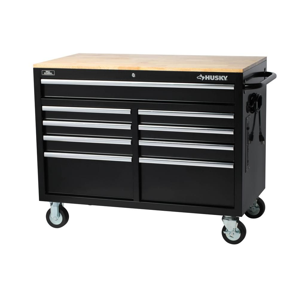 Peachy Husky 46 In W X 24 5 In D 9 Drawer Mobile Workbench With Interior Design Ideas Apansoteloinfo