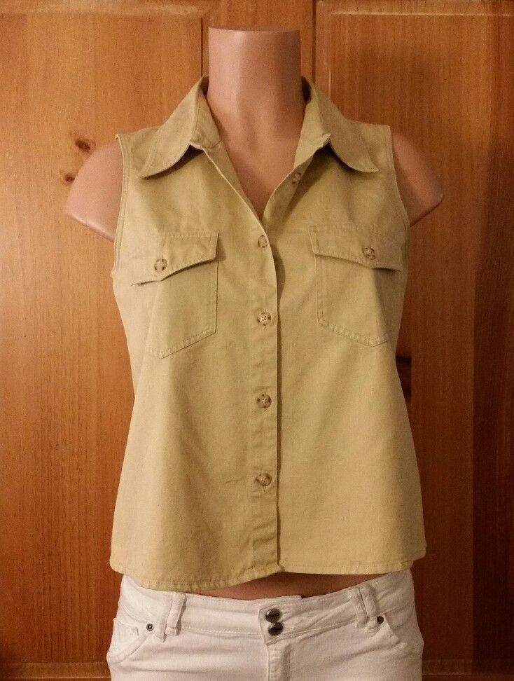 f51dc99a7a3c00 LIZ CLAIBORNE Liz Wear Womens Size 4 Sleeveless Button Down Khaki Shirt Top