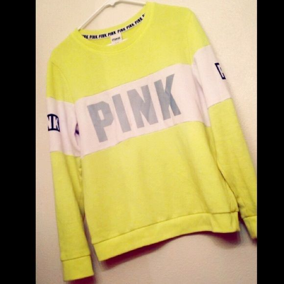 Victoria Secret PINK Neon Reflective Perfect Crew Neon yellow, hard to find VS Pink Crew! Bright, vivid color and it reflects in the dark as you can see in the last two photos that I took with the flash on. Very comfortable, lounge fitting crewneck that's cozy and stylish. Gently worn a few times, only washed once. In great condition. Size small but also fits medium. NO TRADES, PLEASE DO NOT ASK. PINK Victoria's Secret Sweaters Crew & Scoop Necks
