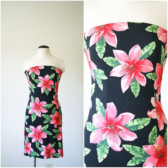 vintage 90s EXOTIC FLOWER body con mini by PasseNouveauVintage, $22.75