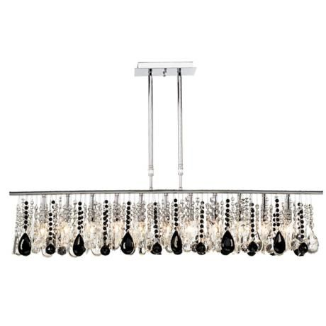 """Luminous 48"""" Wide Clear and Black Crystal Chandelier"""