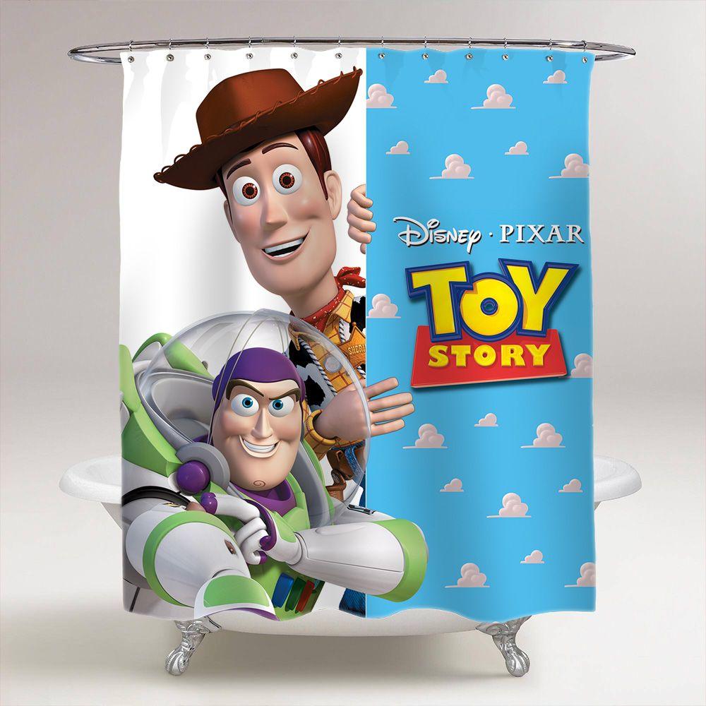 Toy Story Sheriff Woody Buzz Lightyear Bathroom Shower Curtain Price 3699 Bestgift