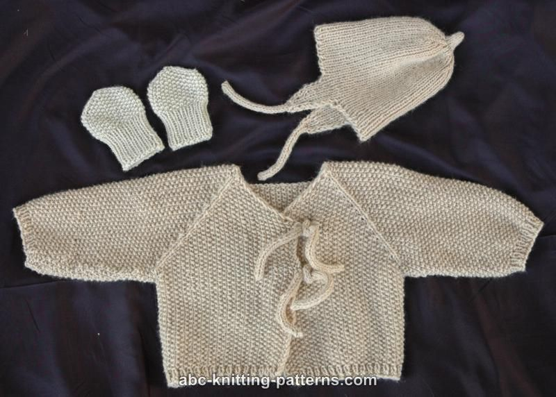 ABC Knitting Patterns - Easy Seamless Baby Cardigan with I-Cord Ties ...