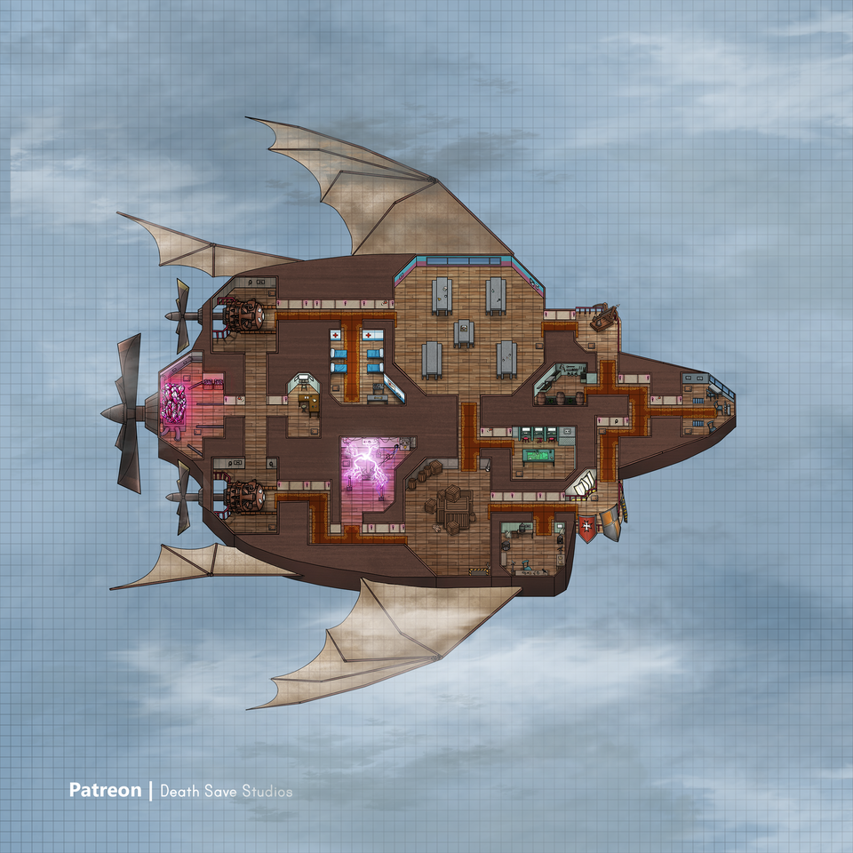 Oc Me And My Friend Spend Over 60 Hours Turning The Among Us Map Into A Playable Dnd Airship 80x80 Battlemaps Fantasy City Map Us Map Map