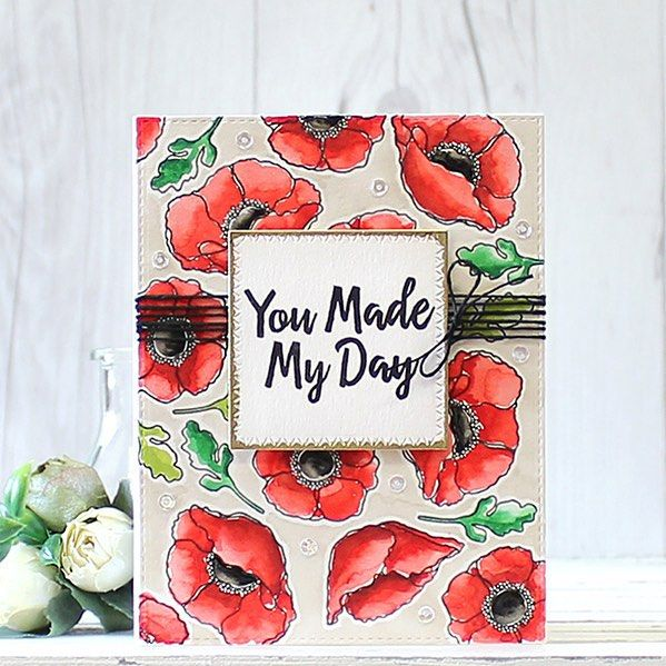 I am obsessed with making my own pattern papers  @mftstamps Delicate Pretty Poppies stamp set is so beautiful!! #mftstamps #mftdienamics #poppy #watercolor #pattern #papercrafts #cardmaking #stamping #핸드메이드 #카드 #워터칼라 #플라워
