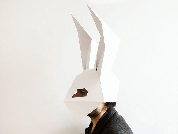 Rabbit Mask Bunny Mask Diy Printable Dj Mask Instant Pdf Etsy Printable Animal Masks Bunny Mask Diy Mask