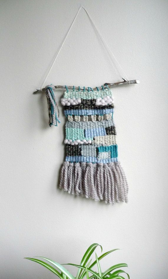 Teal and Blue Woven Tapestry/Wall Hanging West Coast by FollyaTet