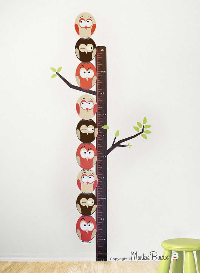 Growth Chart Fabric Wall Decal Stacked Birds Neutral A Group