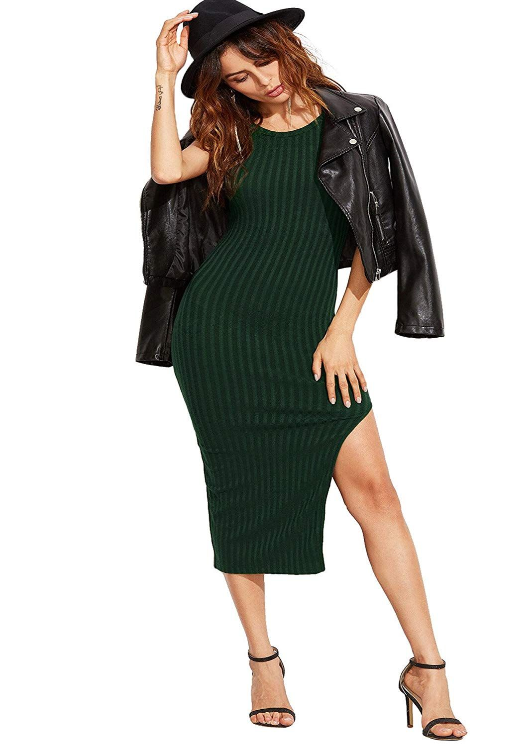 932c33c8 SheIn Women's Sexy Solid Sleeveless Side Slit Bodycon Dress at Amazon  Women's Clothing store: