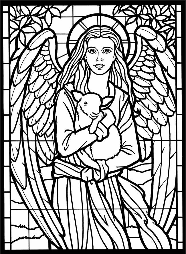 adult coloring page from amazing angels stained glass coloring book dover publications