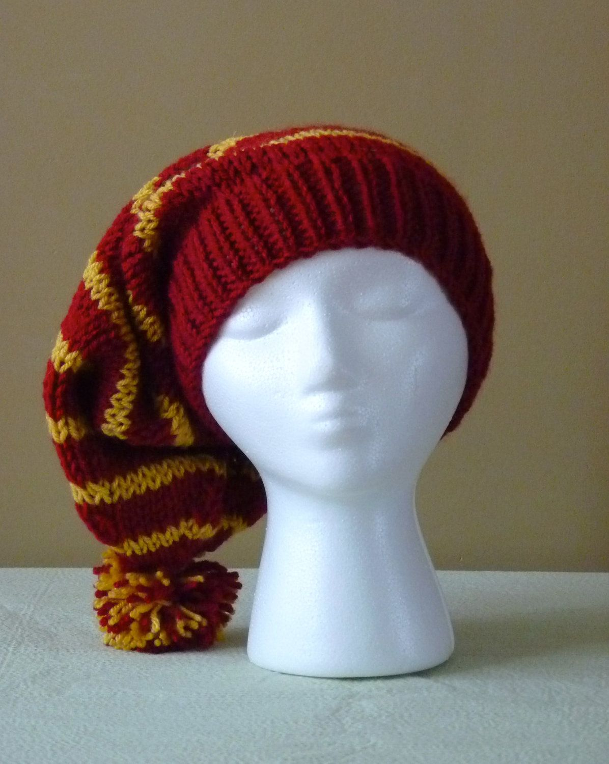 Chunky Hand Knit Slouchy Stocking Hat - Gryffindor Colors - Harry ...