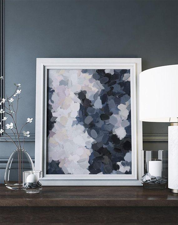Navy black beige lavender abstract wall art printable moonlight ocean painting print modern digital water also rh pinterest